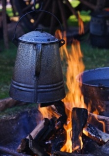 campfire and coffee brewing